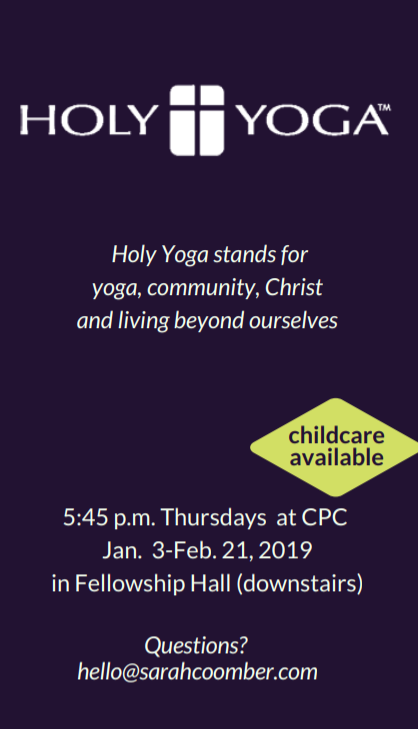Holy Yoga at CPC business card