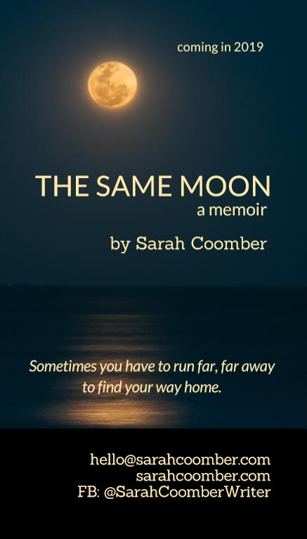 The Same Moon, a memoir, by Sarah Coomber business card