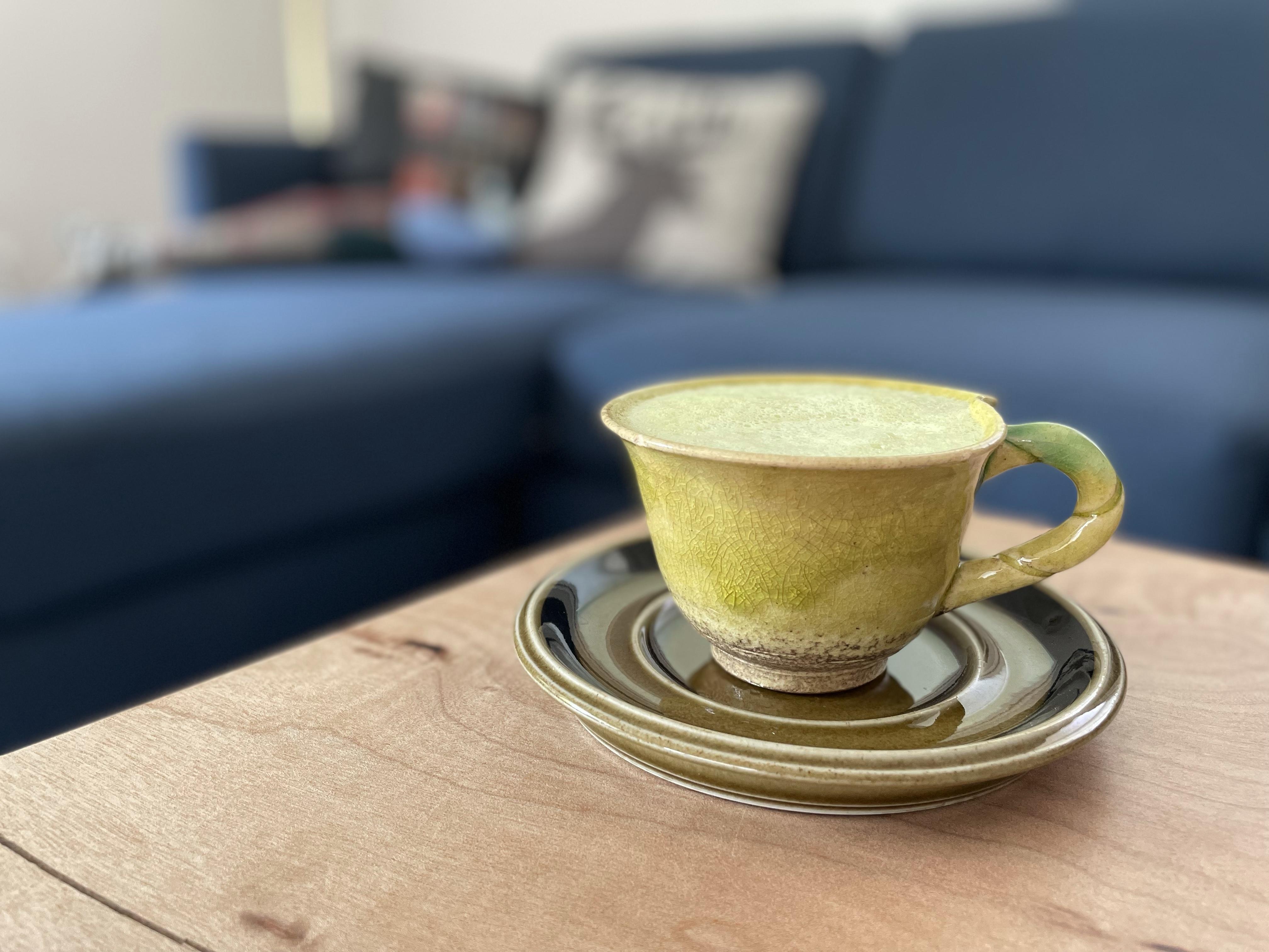 Making a matcha latte